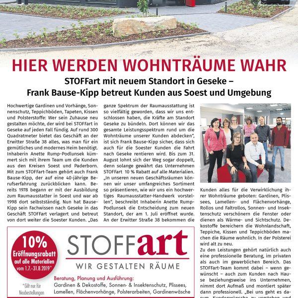 STOFFart-Anzeige